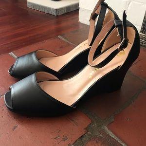 Black Open-Toed Wedge Heel